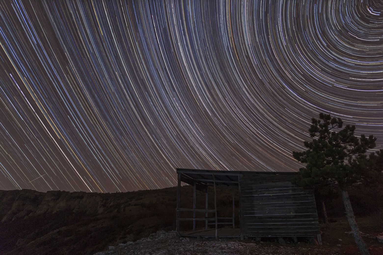 Star trail and a Shack