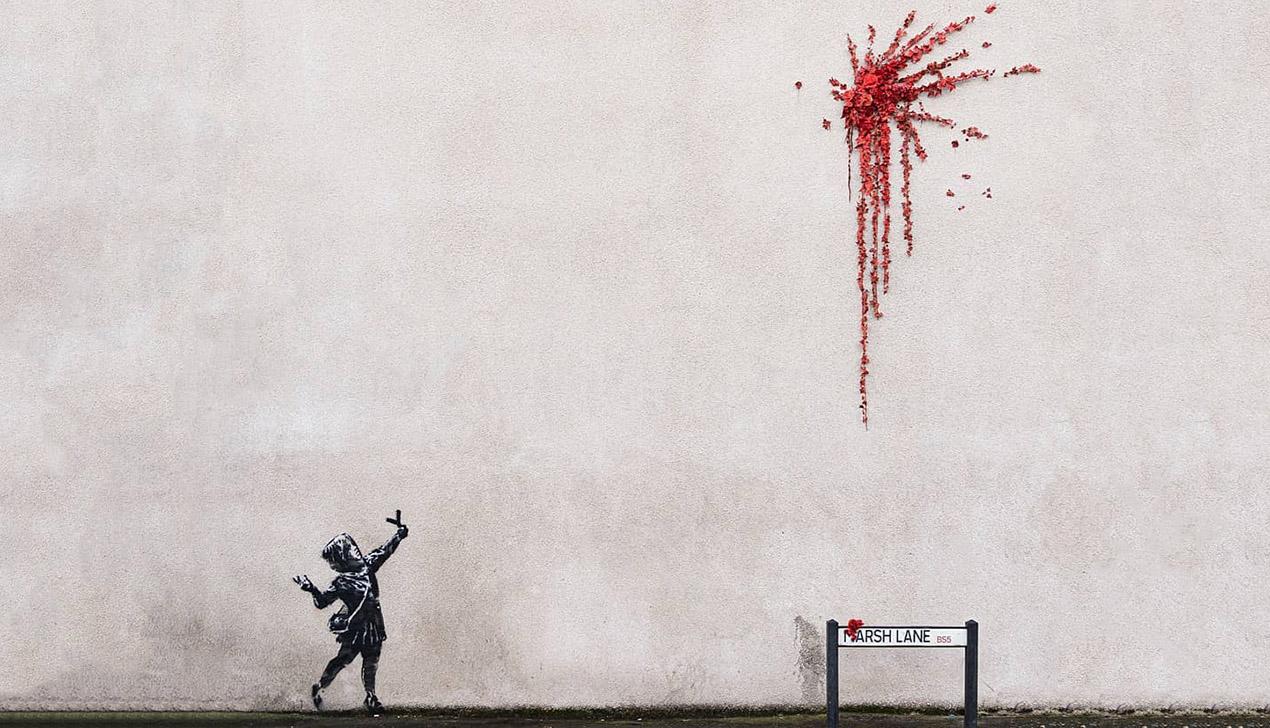 Выстрел цветами: Бэнкси создал граффити ко Дню всех Влюбленных